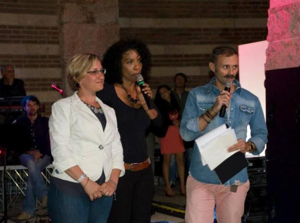 presentatore e organizzatrici Maria Vascon, Karin Mensah e Andrea Spezie